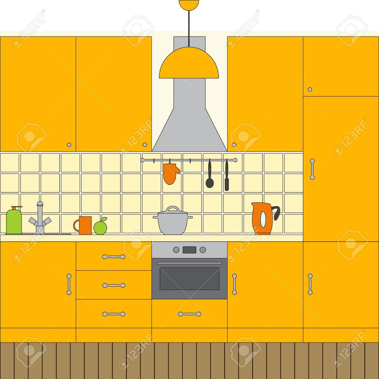Liner Flach Küche Gesetzt. Möbel, Abzugshaube, Einbaugeräte ...