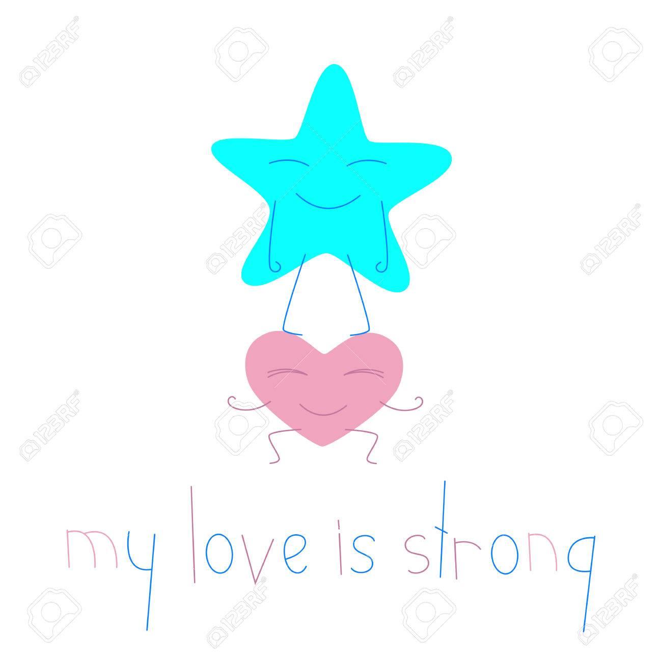 heart cartoon character holding big star character lettering rh 123rf com Tall Clip Art Strong Man Clip Art