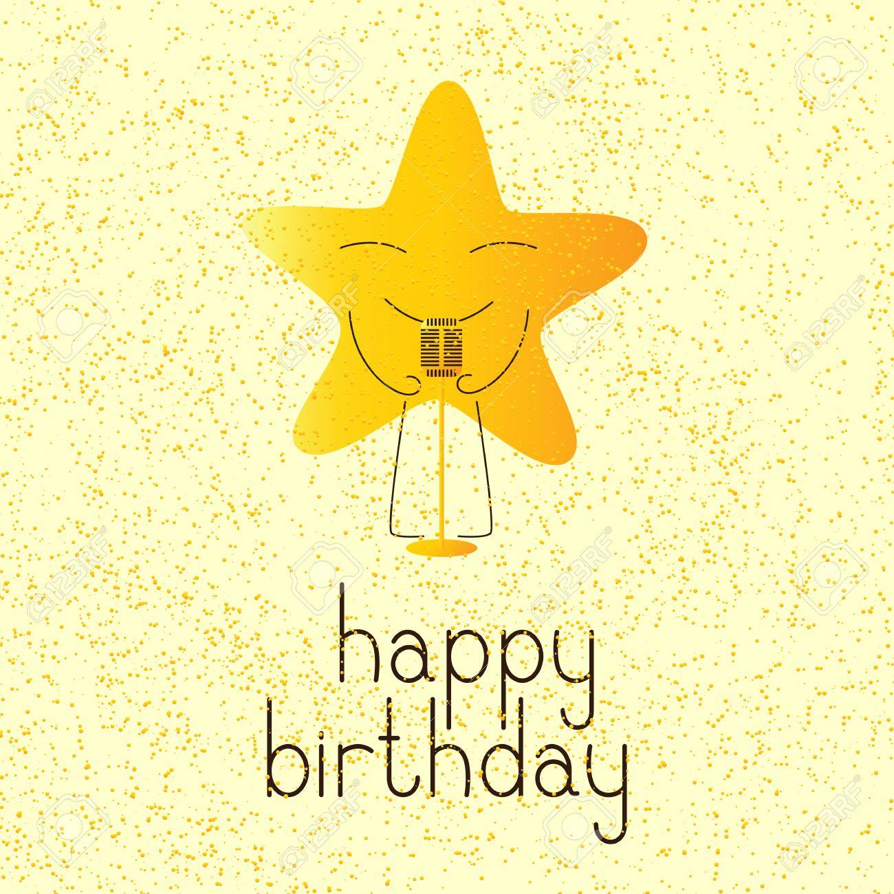 Bonne Carte De Voeux Danniversaire Avec Couleur Dorée Caractère étoile De Bande Dessinée Avec Rétro Microphone Et Lettrage Joyeux Anniversaire