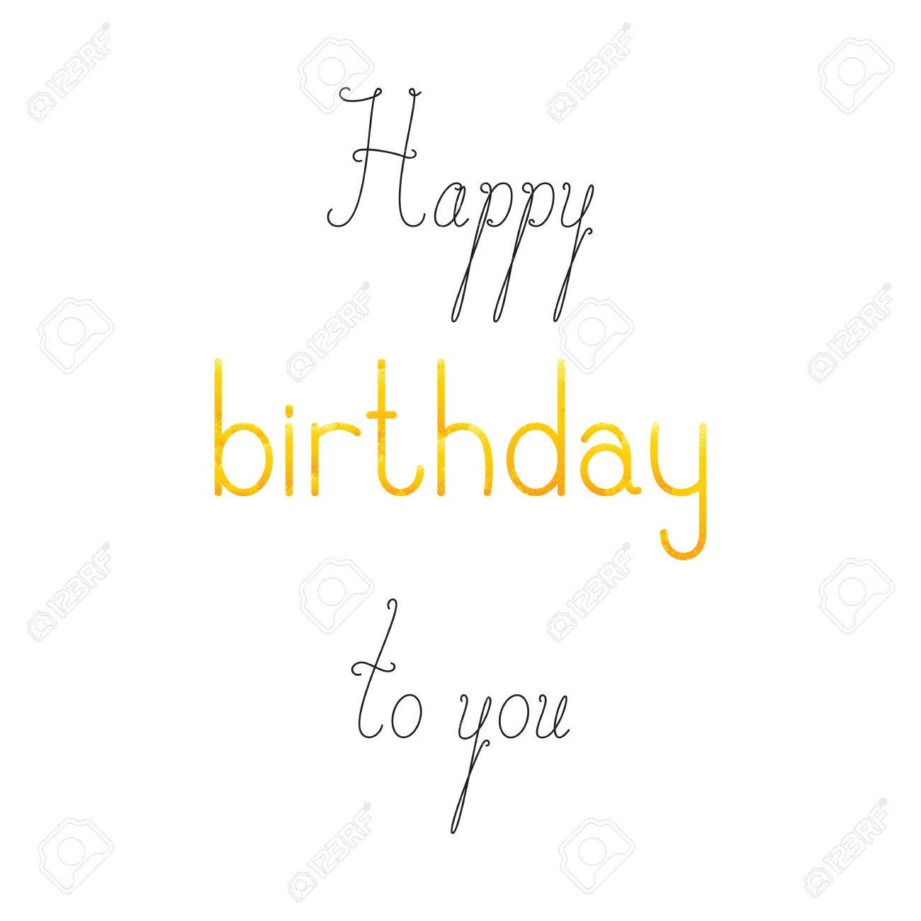happy birthday to you lettering in english isolated on white