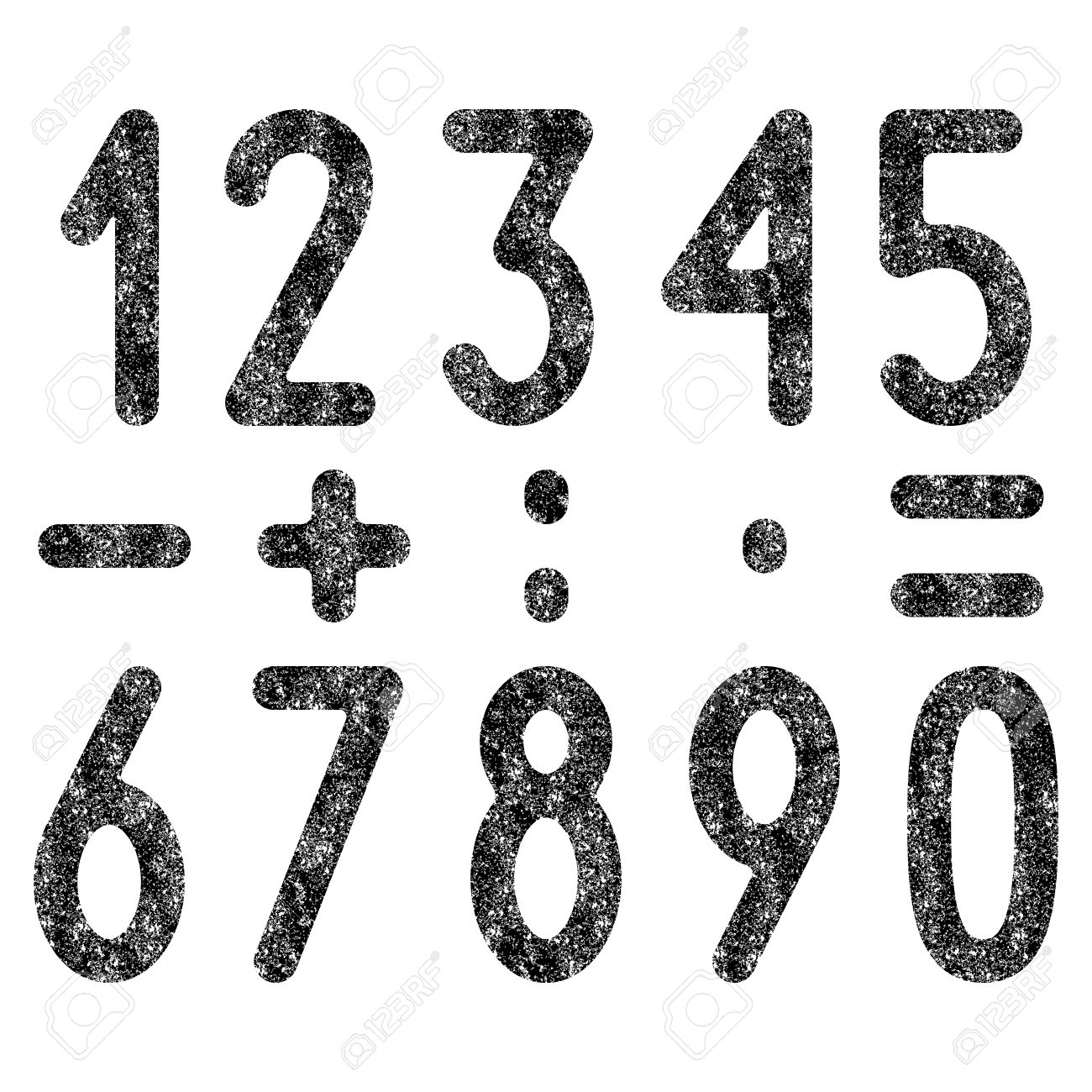 black colored shabby old numbers and mathematical symbols set