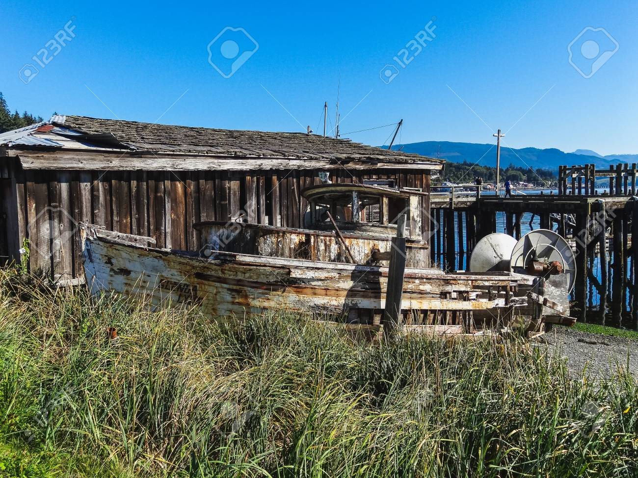An Old Wooden Fishing Boat In Nova Scotia Canada Stock Photo Picture And Royalty Free Image Image 97465168