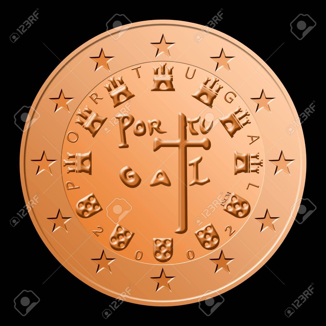 1 2 5 Portuguese Euro Cents Stock Photo Picture And Royalty Free