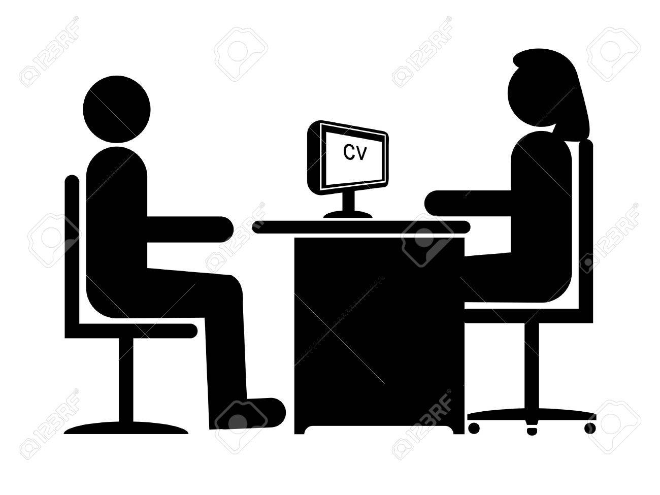 Silhouette Job Interview (Female Boss & Male Candidate) Stock Photo - 7653484