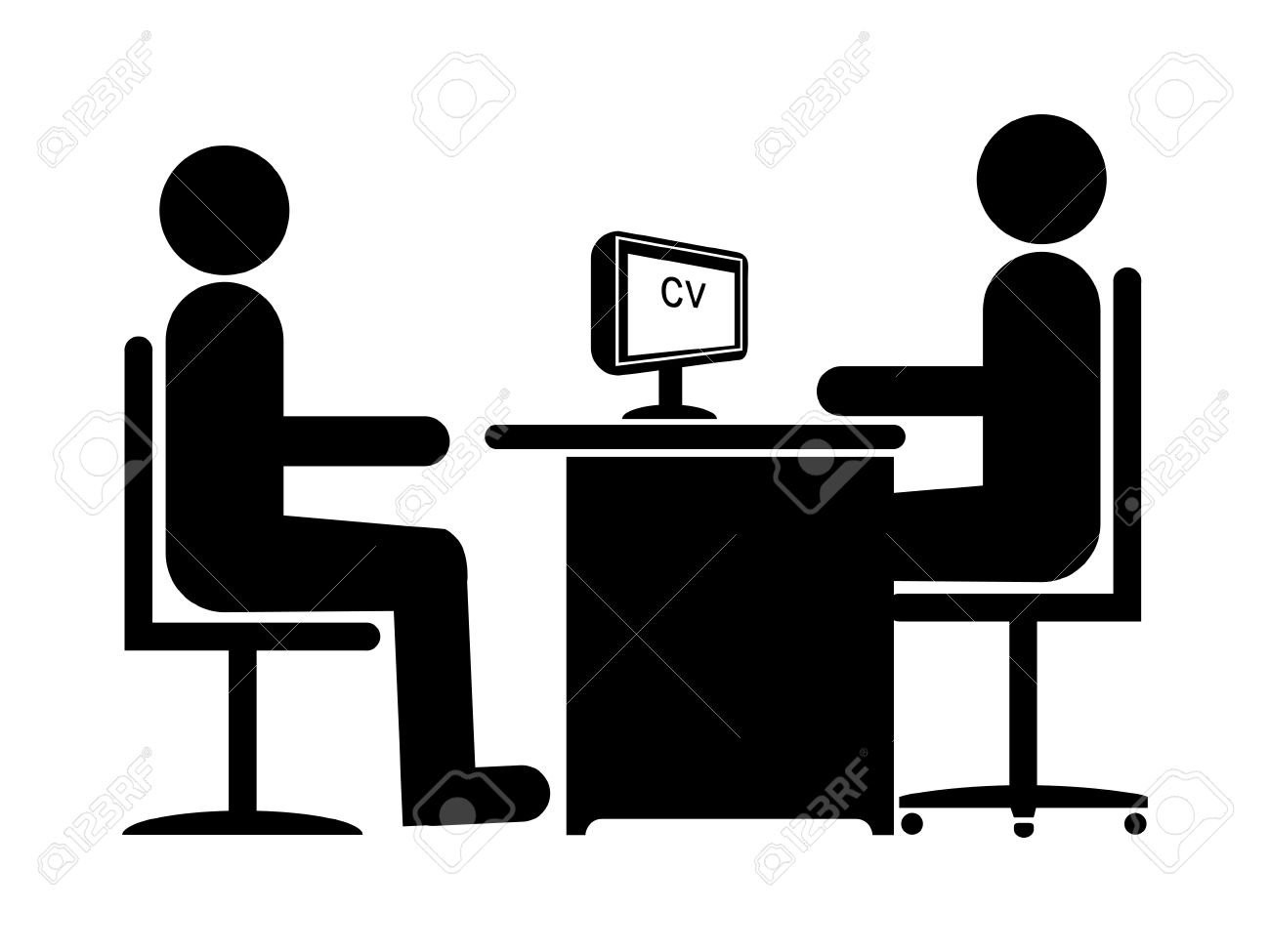 Silhouette Job Interview (Male Boss & Male Candidate) Stock Photo - 7653483