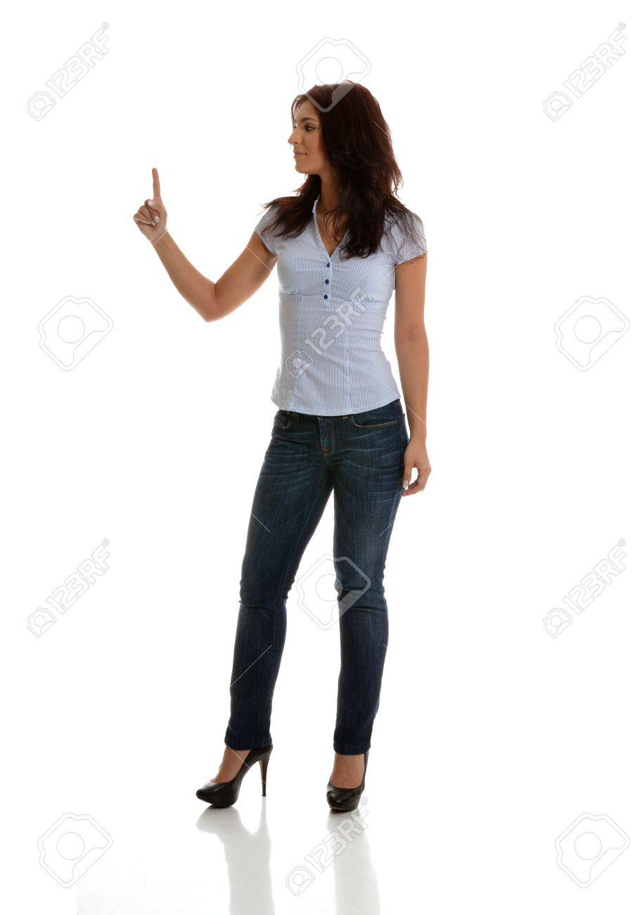 Beautiful business woman pointing up to object Stock Photo - 14310688