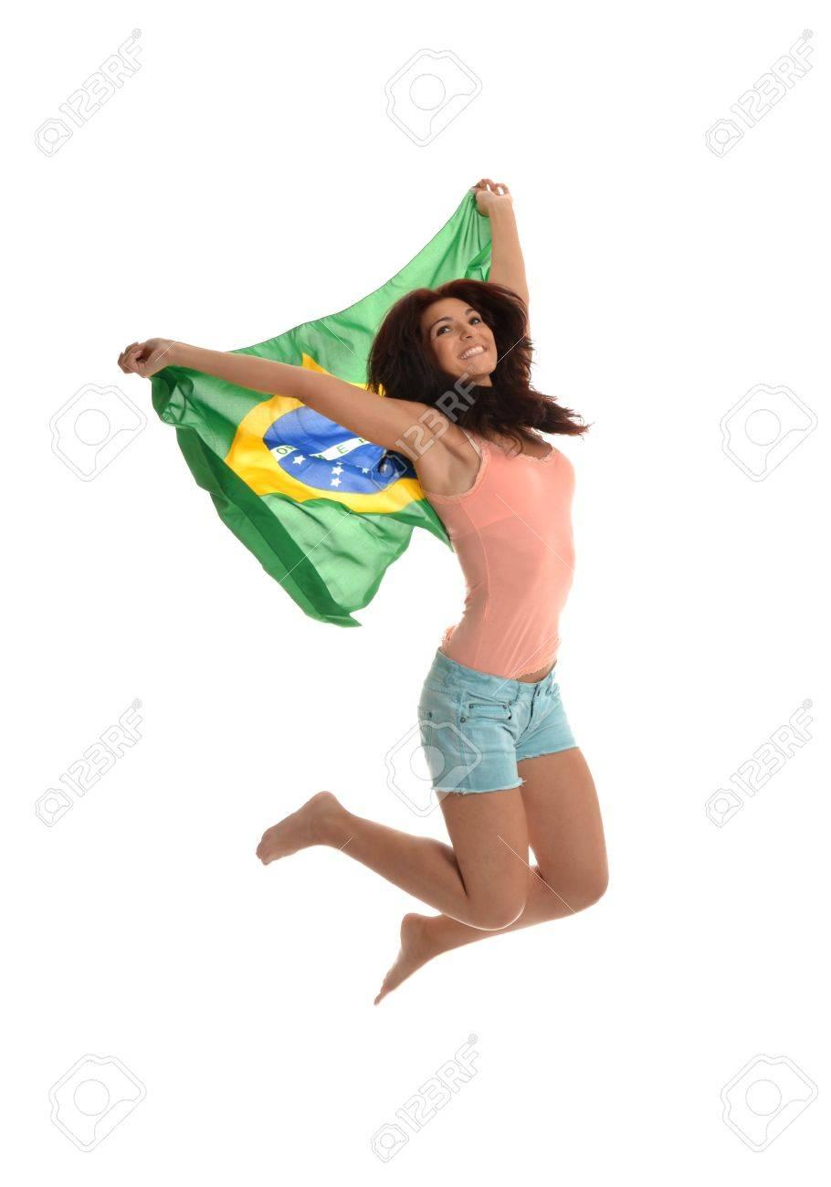 Beautiful Latin Jumping with Brazilian Flag Stock Photo - 15042191