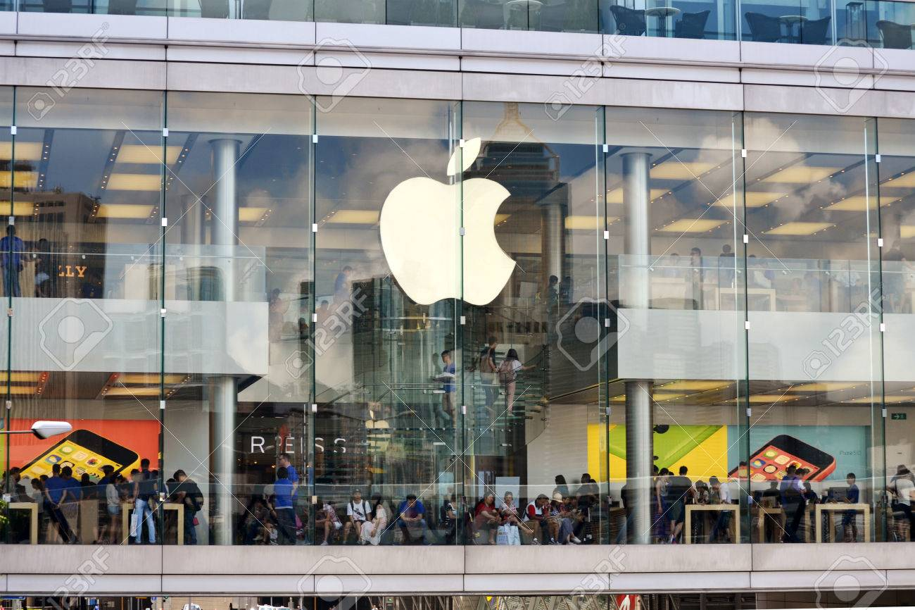 HONG KONG CHINA - MAY 25  External view of Apple shop and showroom in IFC Mall on May 25th 2014  Apple is one of the most visited shops in the IFC shopping center and in Hong Kong  Stock Photo - 29854034