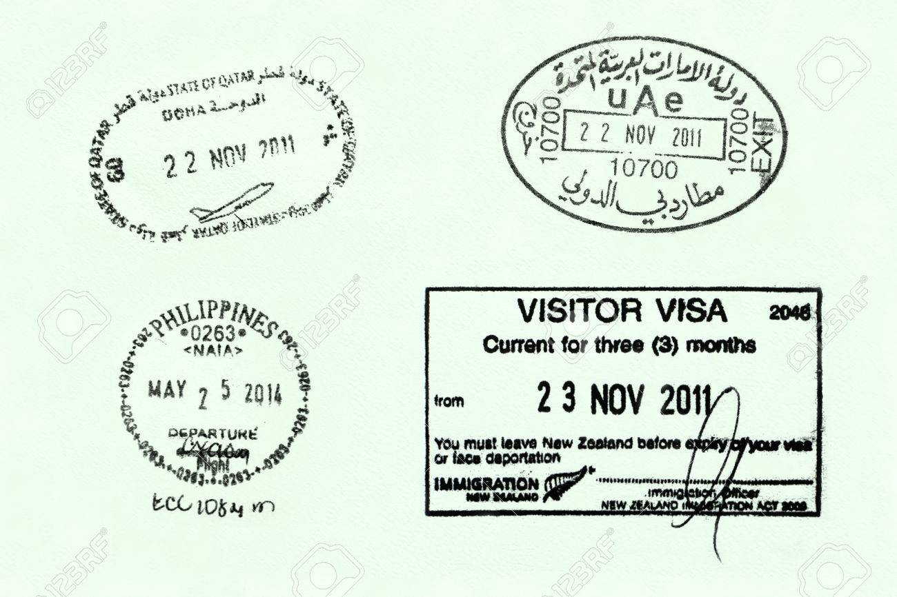 Passport page with arrival & departure stamps from various countries Stock Photo - 32667572