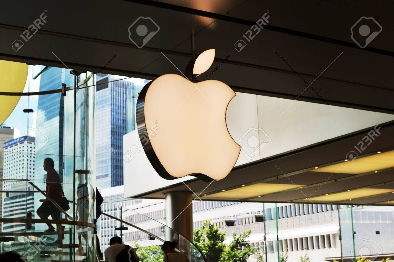 HONG KONG/CHINA - MAY 25: Giant Apple logo inside Apple showroom in IFC Mall on May 25th 2014. Apple is one of the most visited shops in the IFC shopping center and in Hong Kong. Stock Photo - 34065514
