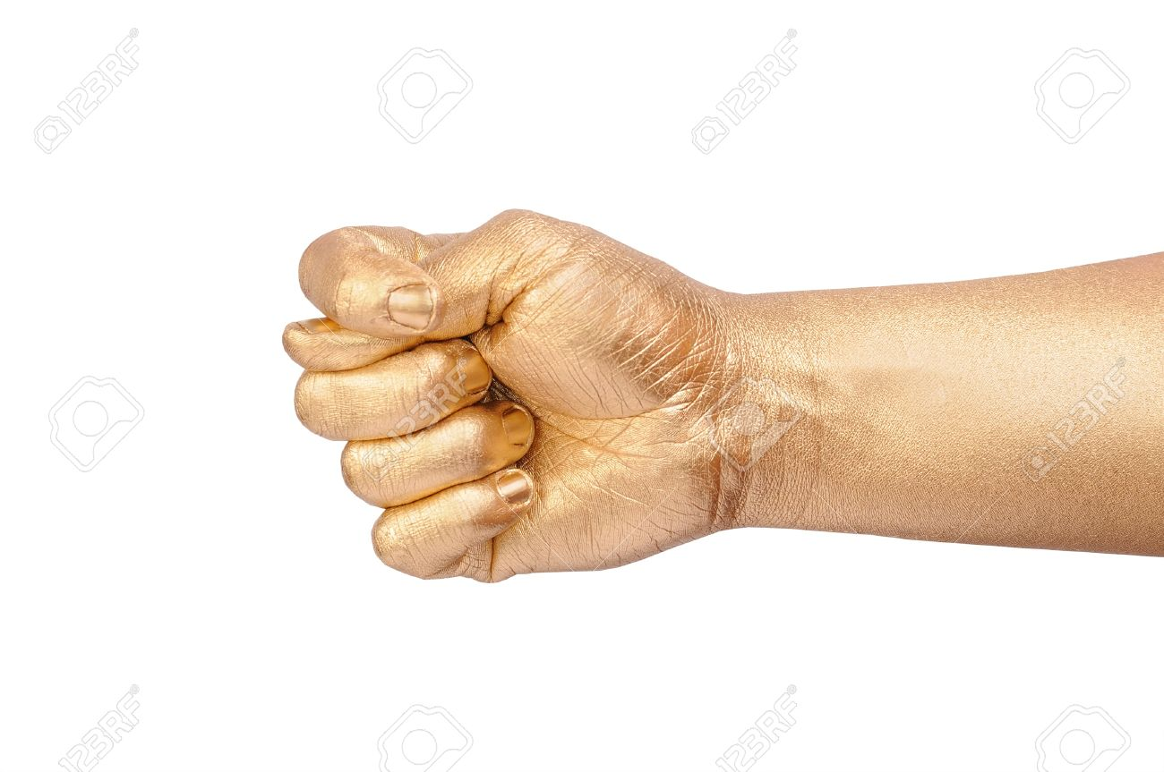 The man's golden hand show a sign fico. Isolated on white Stock Photo - 8929443