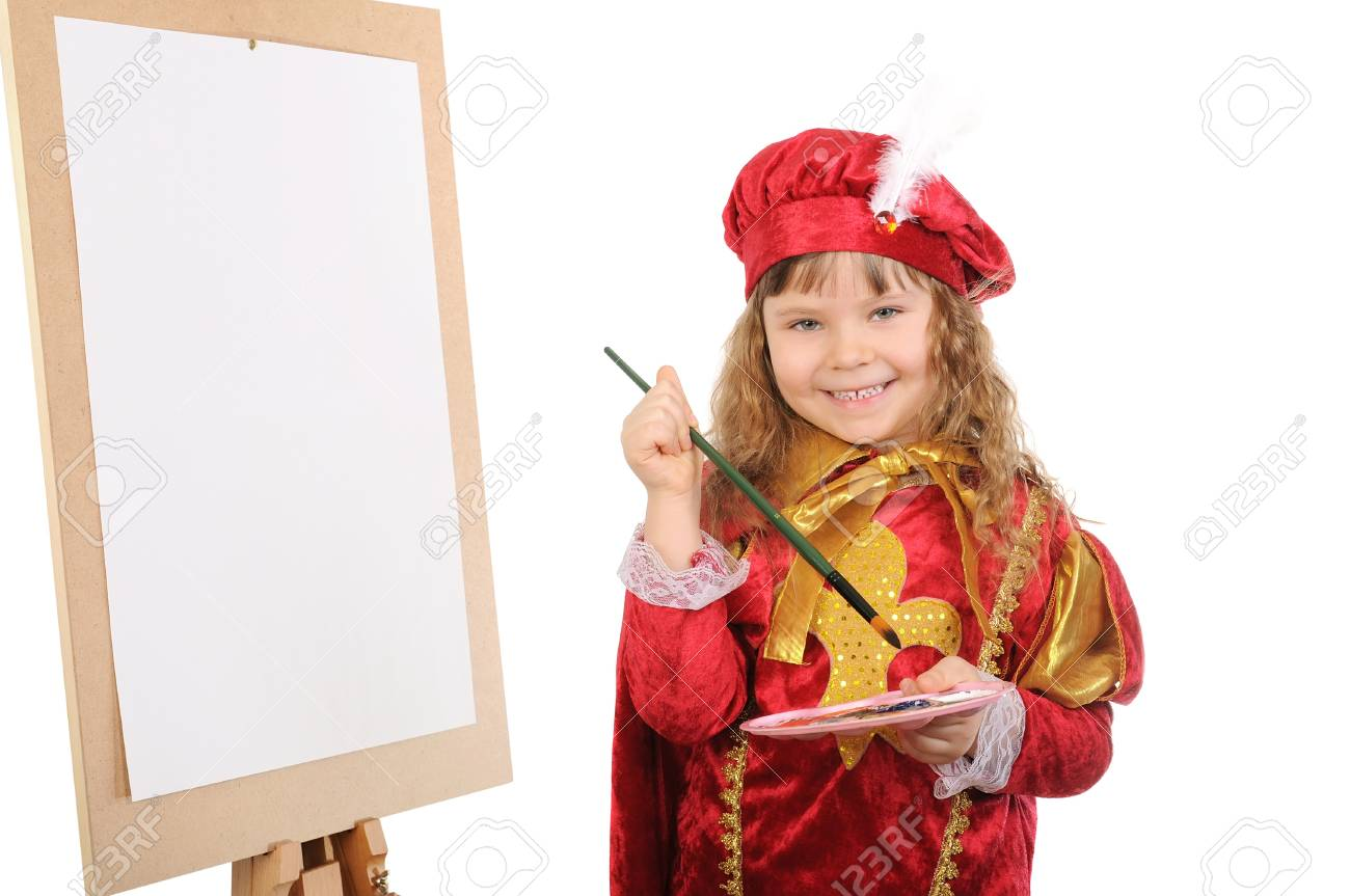 Girl with a brush and paints near an easel. Isolated on white Stock Photo - 9131387