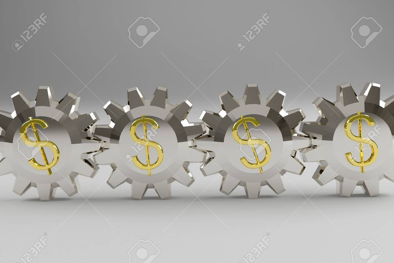 Silvery gears with a gold dollar sign. 3d render Stock Photo - 10426147