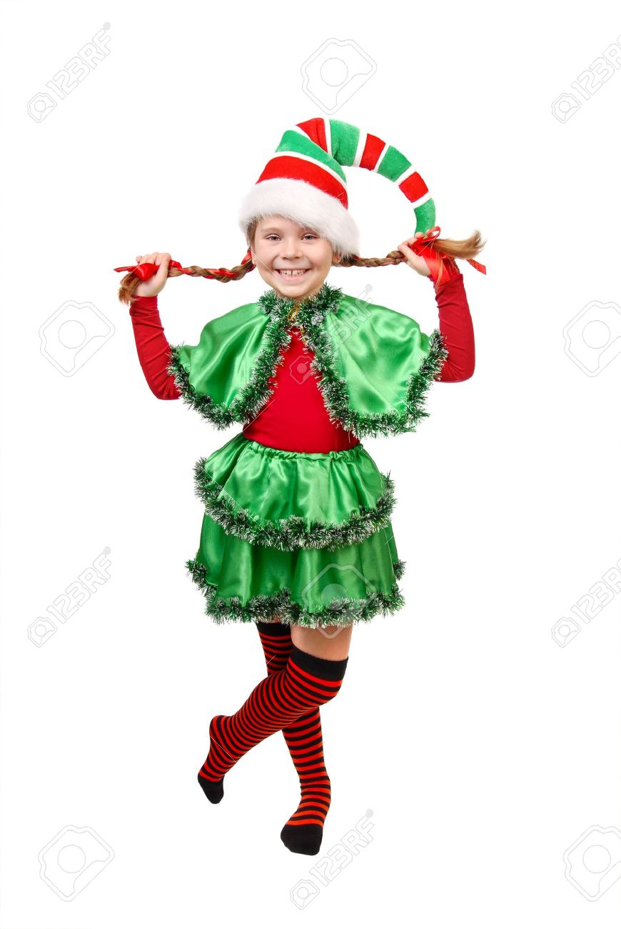 Girl In Suit Of Christmas Elf Isolated On A White Stock Photo ...