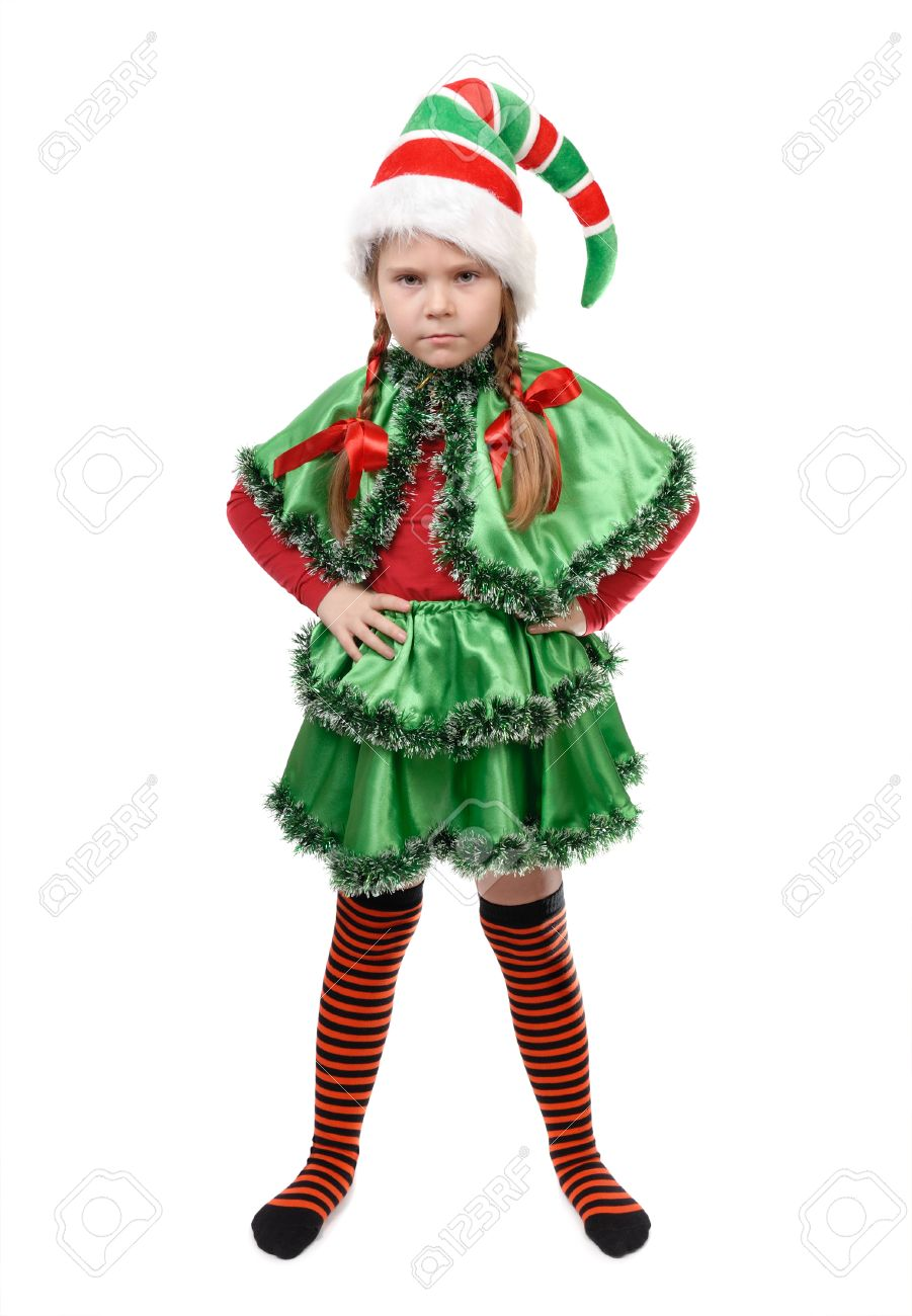 Angry little girl in suit of santa elf stock photo picture jpg 901x1300  Angry elf costume 793693548