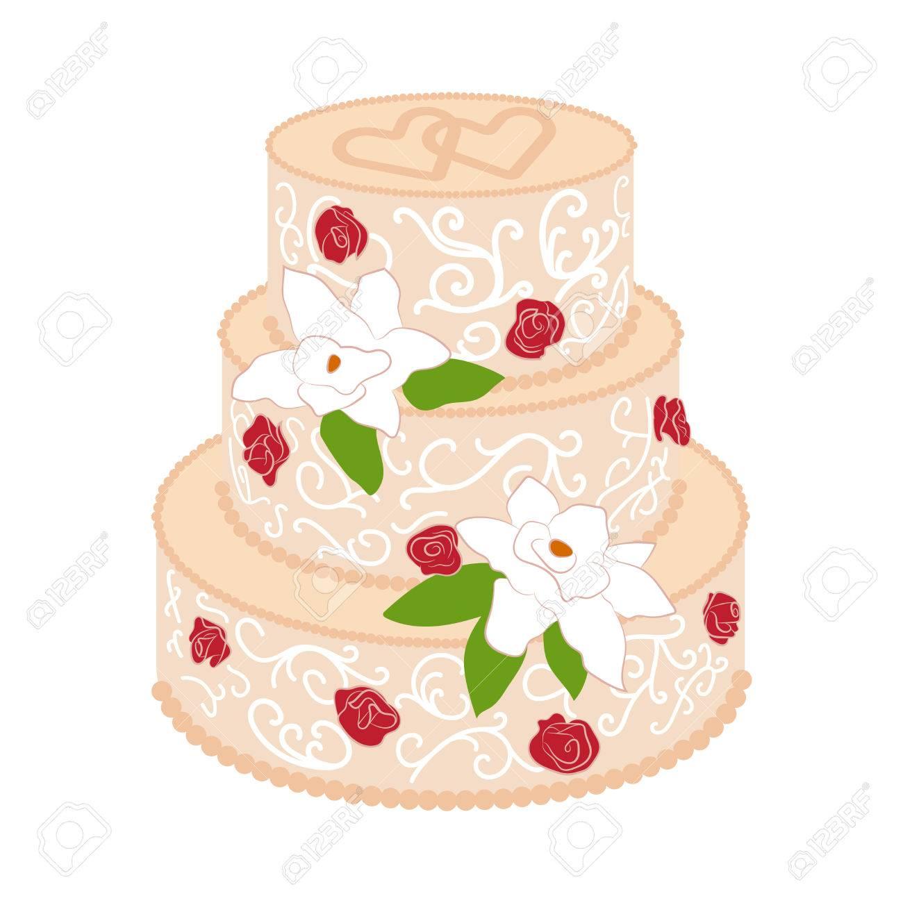 Hochzeitstorte Mit Zwei Gekreuzten Herzen Auf Die Oberseite Und