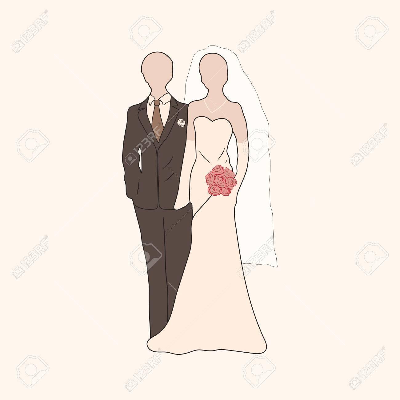 foto de archivo vector novia con ramo y pastel novio siluetas elemento para sus diseos de la boda los proyectos del da de san valentn s