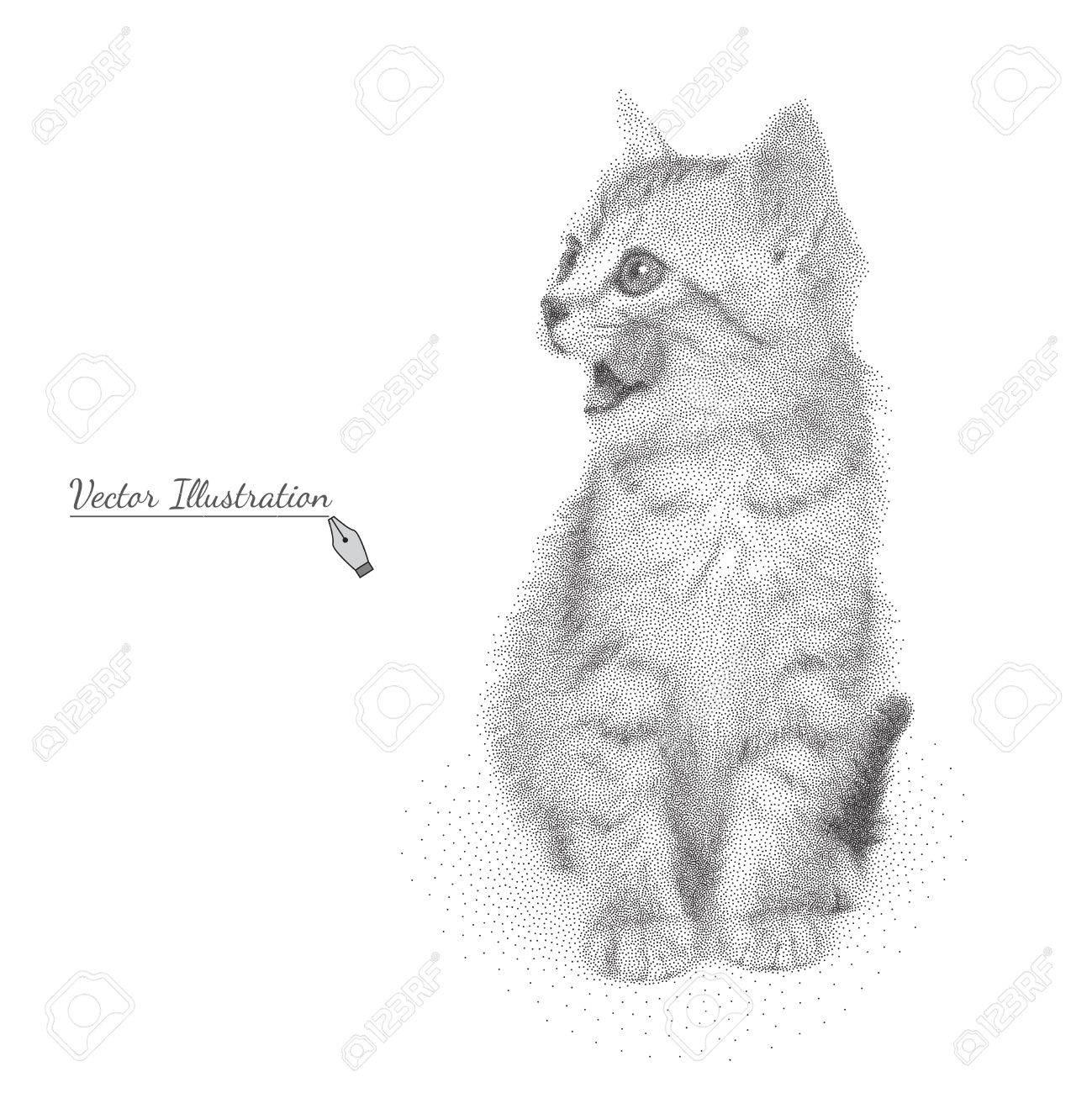 子猫のベクトル イラストが白で黒と白のグラフィック スタイル点描で唇