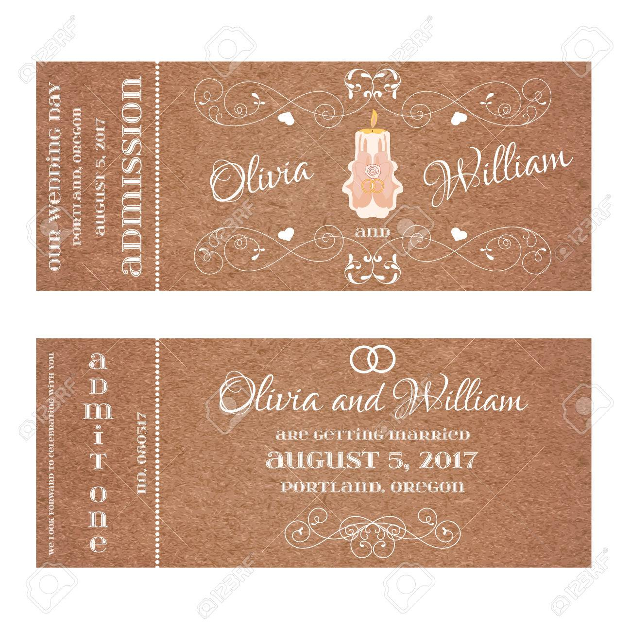 Grunge Double Sided Ticket For Wedding Invitation And Save The
