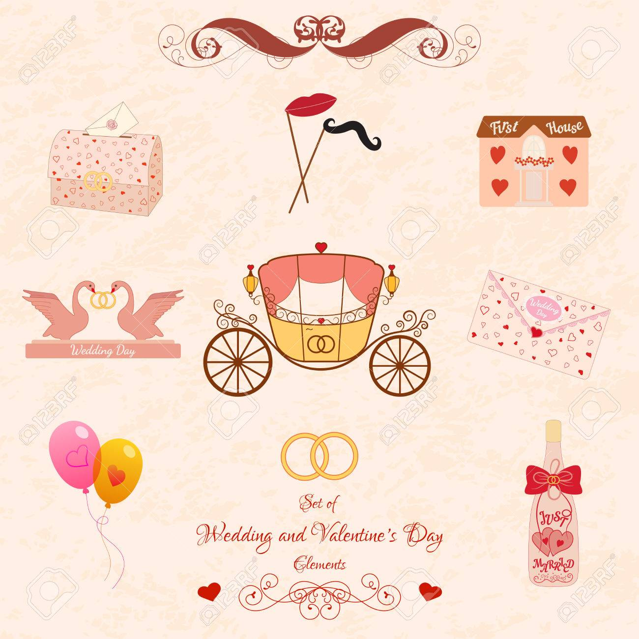 Vector Set Of Wedding And Valentines Day Classic And Retro Elements