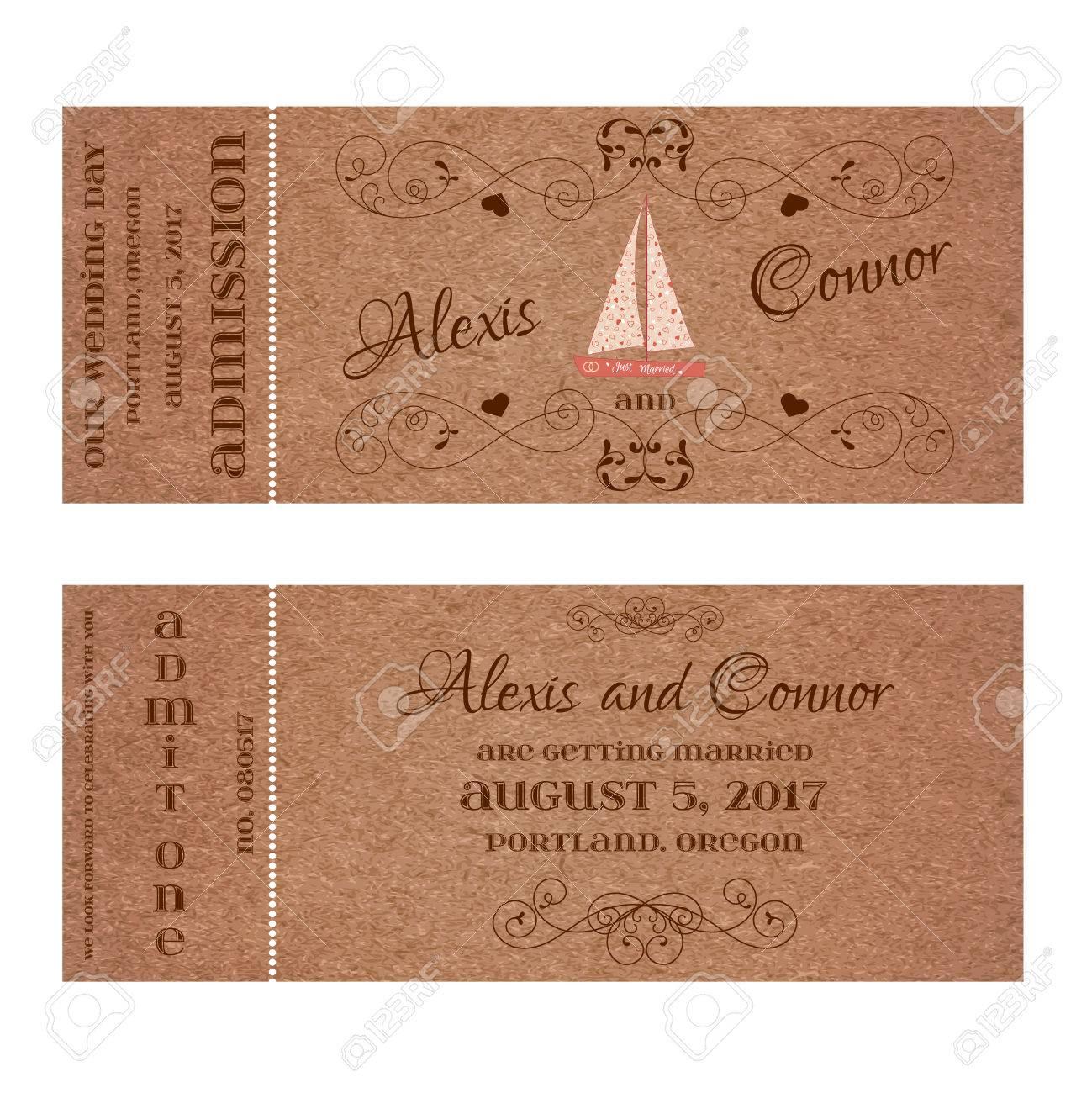 Standard Bild   Vector Double Sided Ticket Für Die Einladung Wedding Und  Save The Date Mit Hochzeit Segelyacht Und Elegante Blumen Locken.