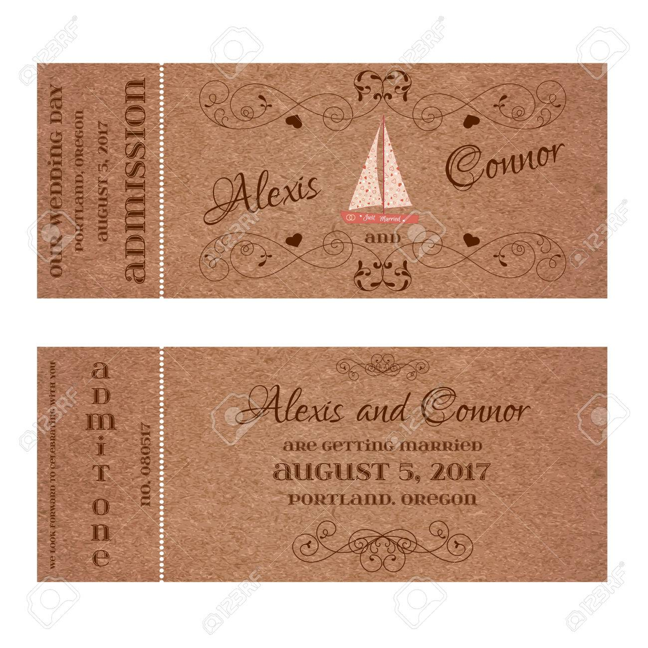 vector double sided ticket for wedding invitation and save the