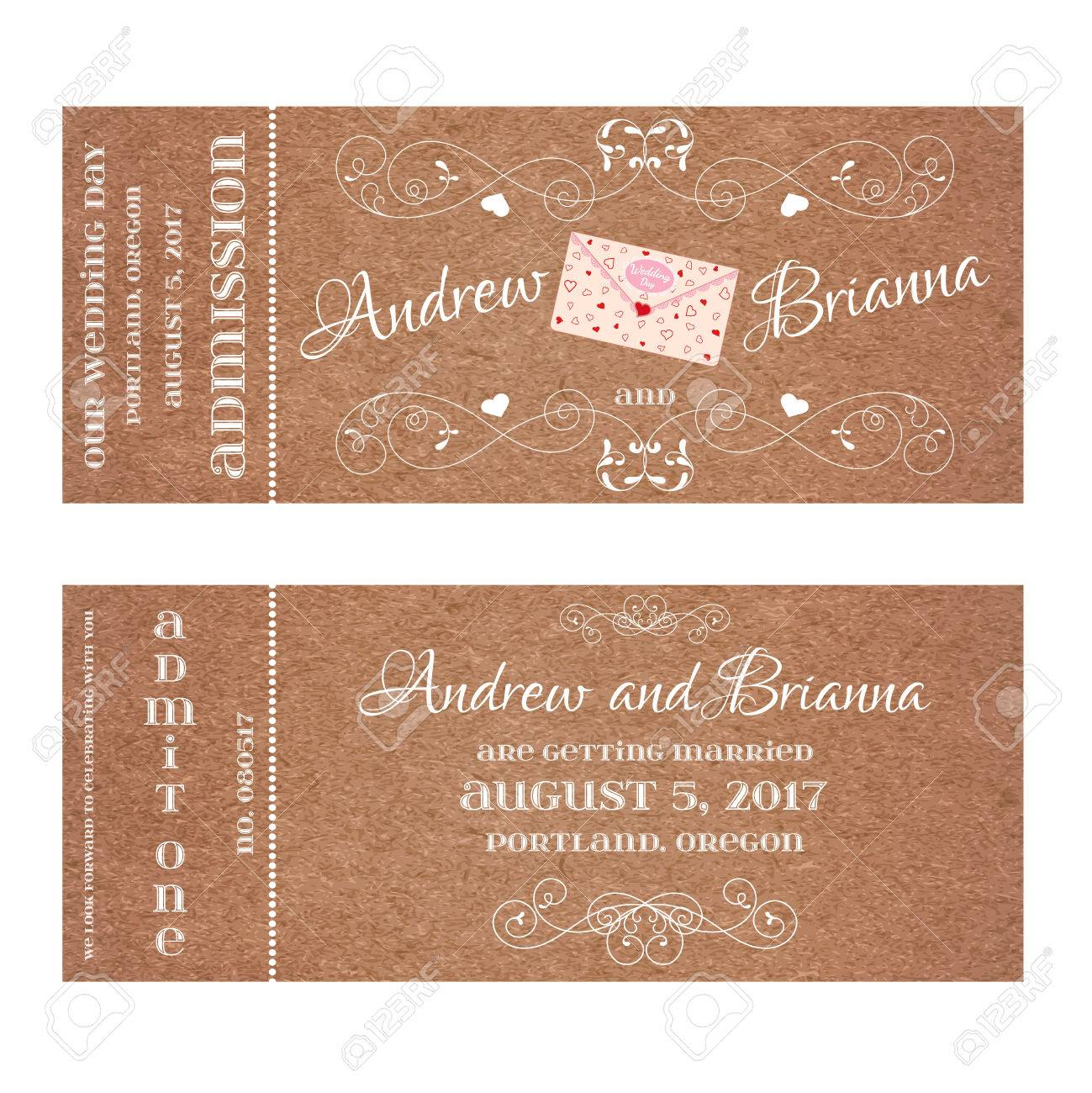 Vector double sided ticket for wedding invitation and save the invitation and save the date with wedding letter and elegant floral curl element for wedding valentines day web and other holiday romantic projects stopboris Images
