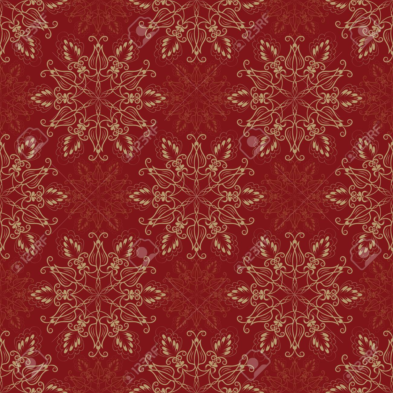 Vector Seamless Floral Mandala Pattern Over Red Color. Seamless ...