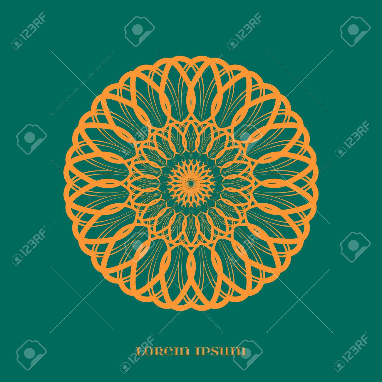 Vector Geometric Orange Mandala over Green  Element for your
