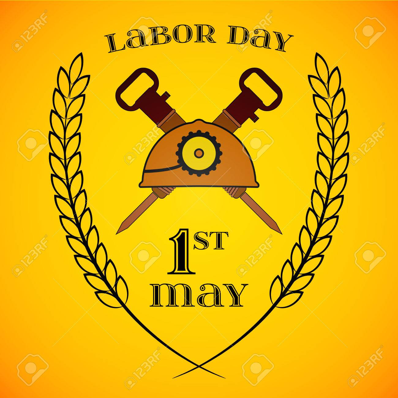 May day may 1st labor day background with two crossed jackhammers may day may 1st labor day background with two crossed jackhammers and helmet buycottarizona Choice Image