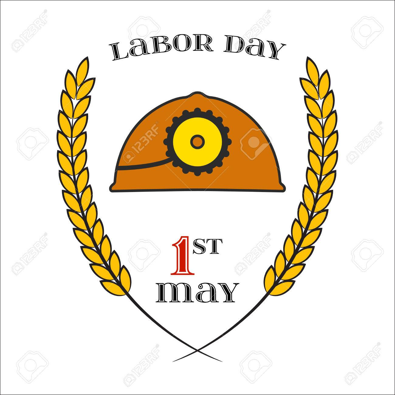 May Day May 1st Labor Day Icon With Helmet Over White Element