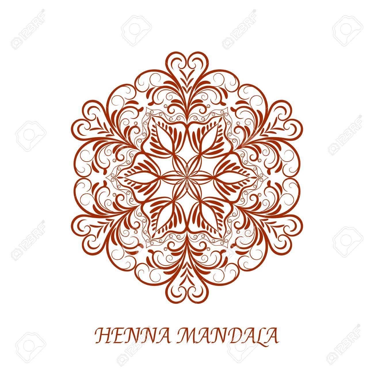Vector De La Alheña Mandala De La Flor De Colores Sobre Fondo Blanco ...