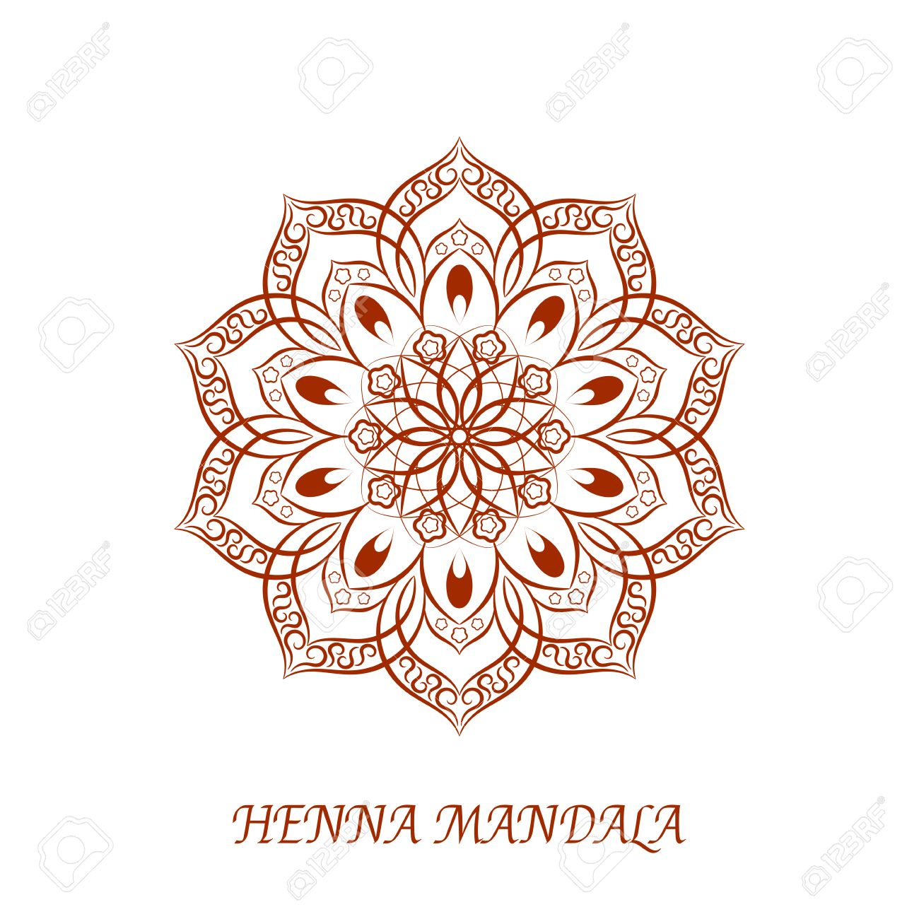 henna color flower mandala white background element for your