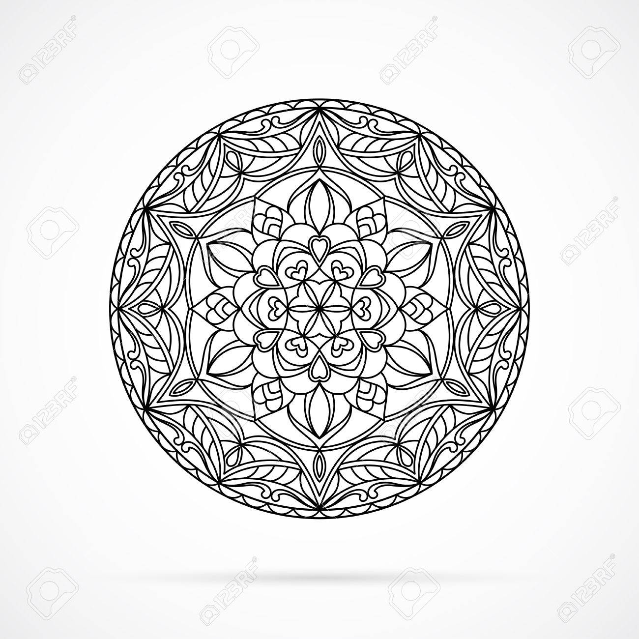 Negro Mandala De La Flor De Colores Sobre Fondo Blanco. Elemento ...