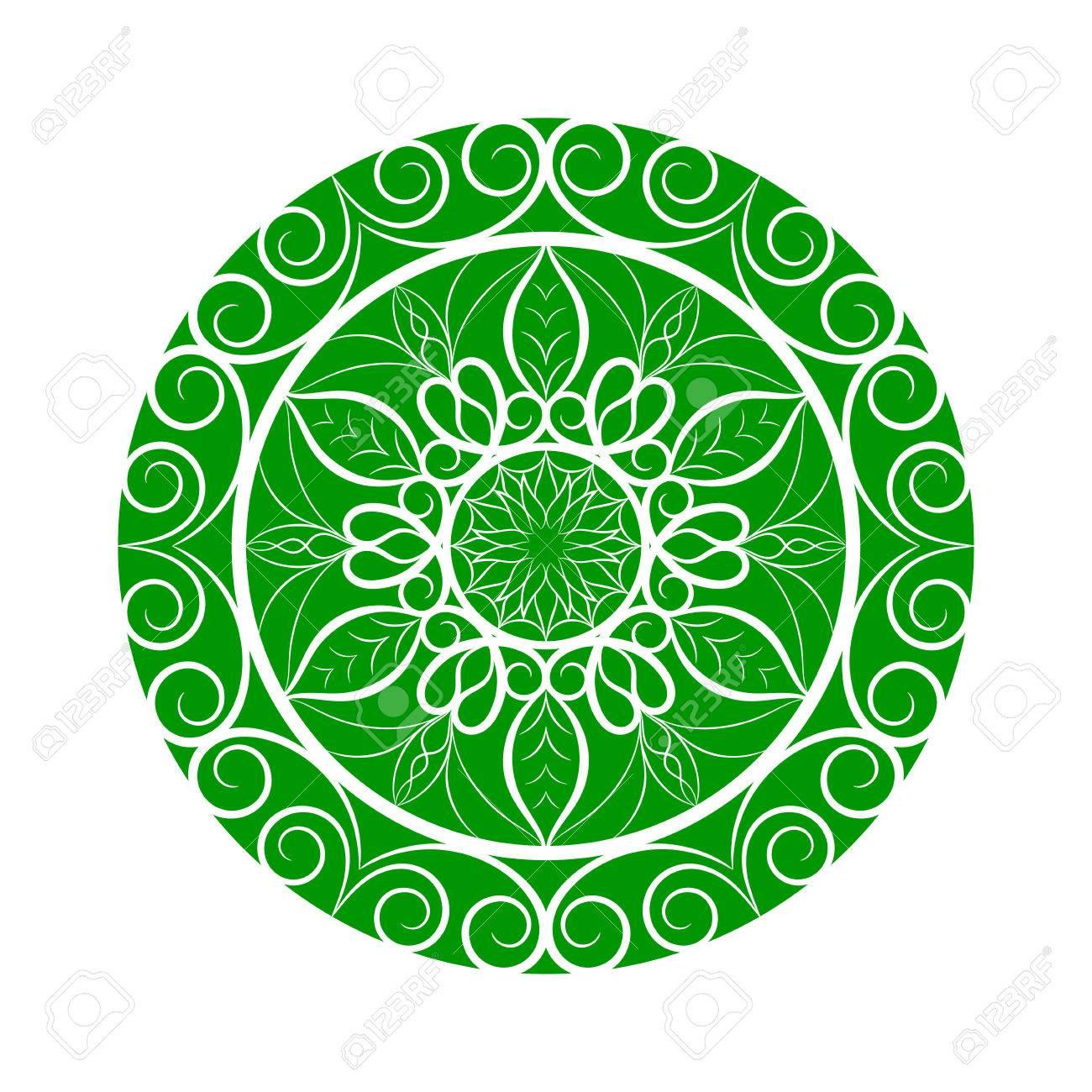 Green Color Flower Mandala Over White. Invitation Element. Tattoo ...