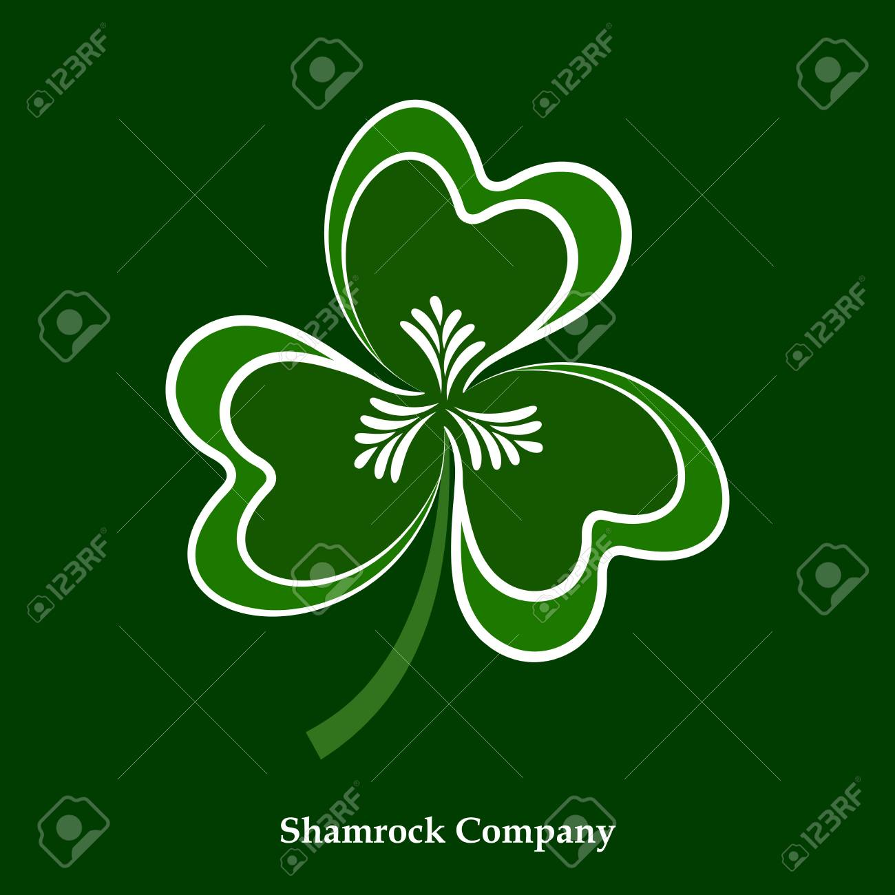 A Vector Green And White Leaf Shamrock Icon Clover Symbol For