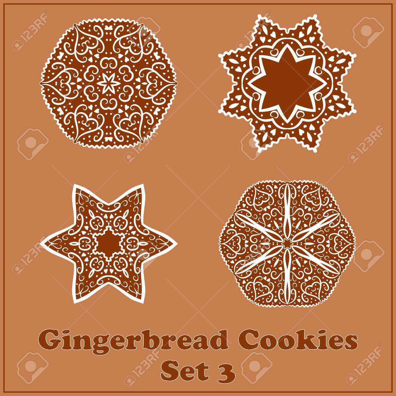 Vector Gingerbread Snowflakes Cookies Set No 3 Merry Christmas
