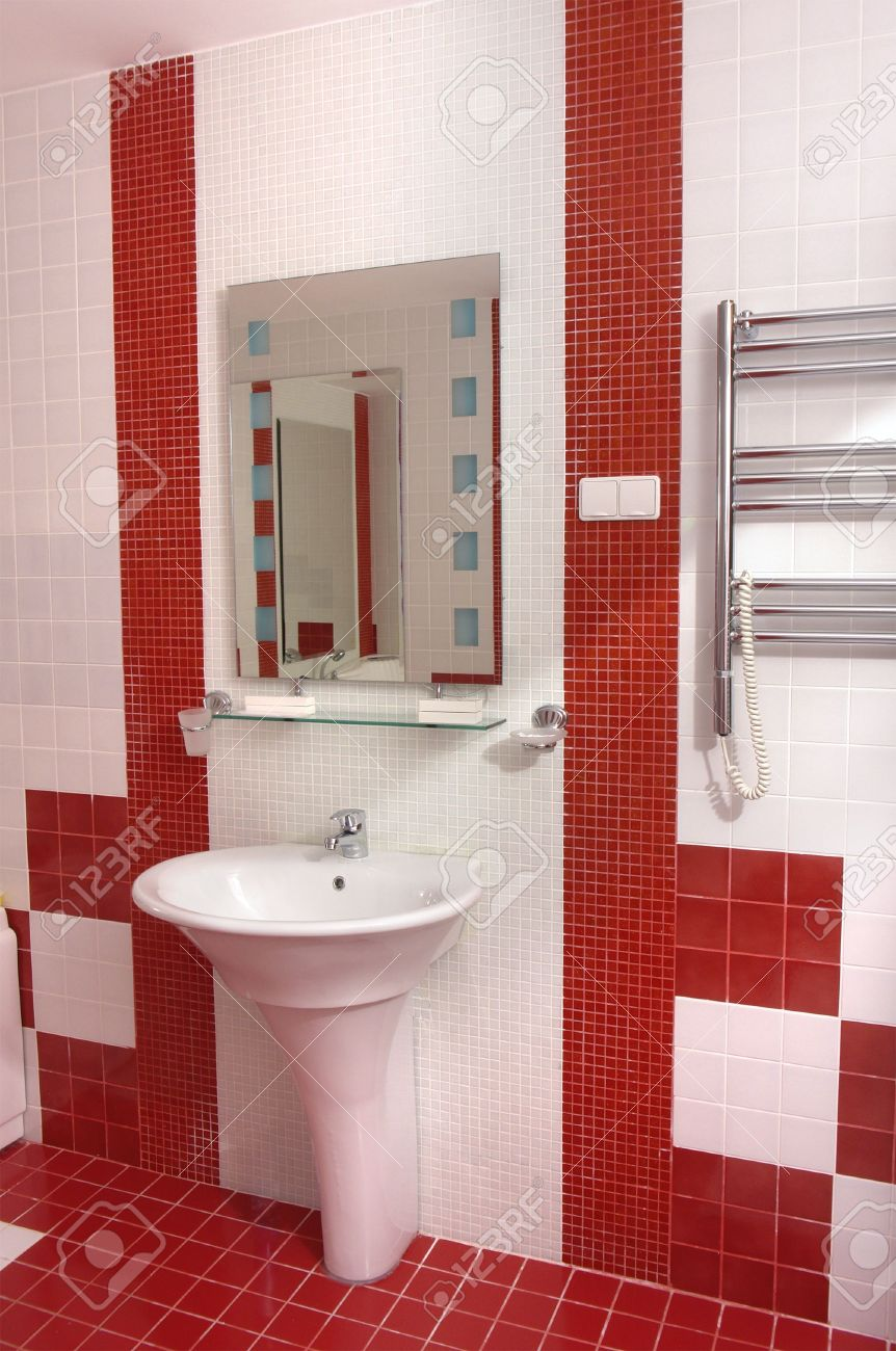 Bath Room In Modern Hotel In White And Red Colors Stock Photo