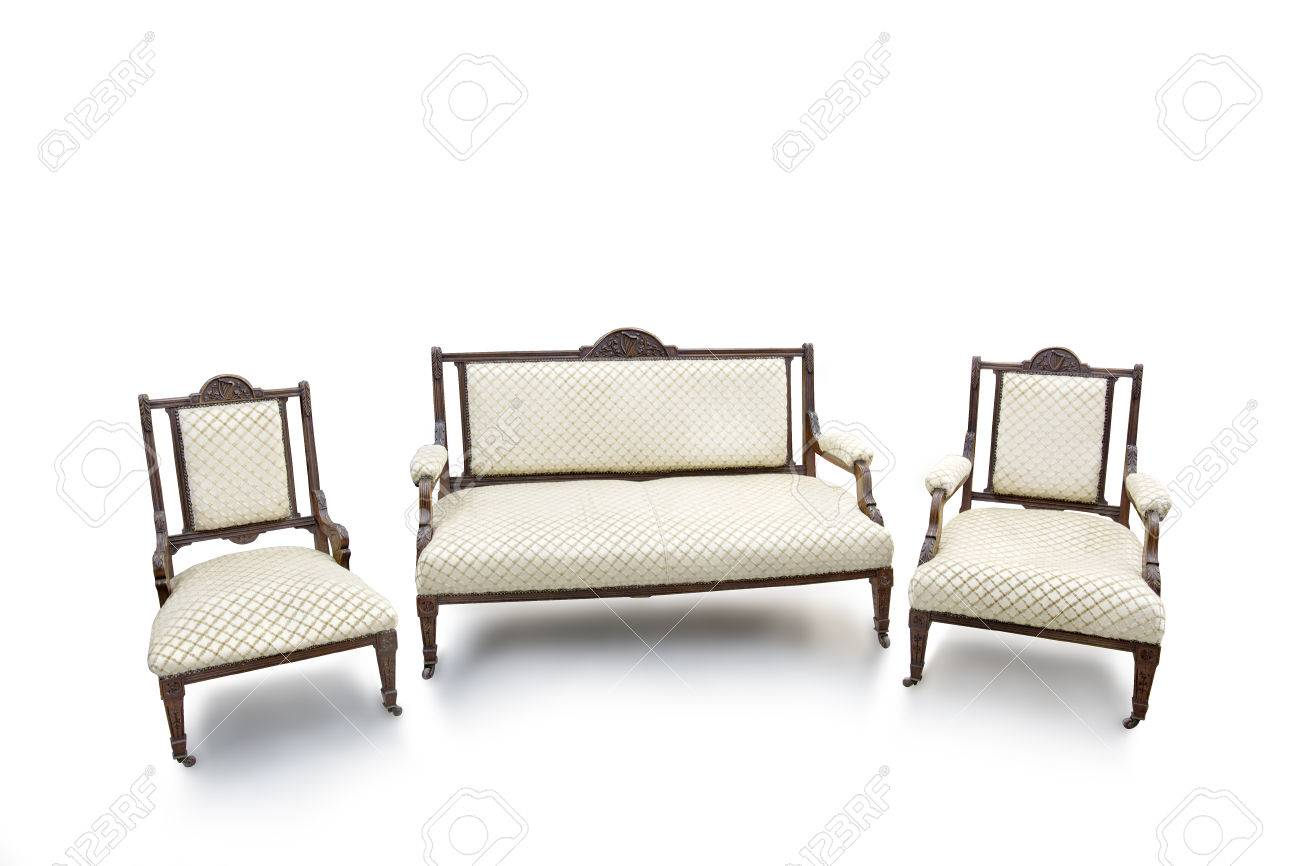 Old Fashioned Wood Chair And Sofa On White Background