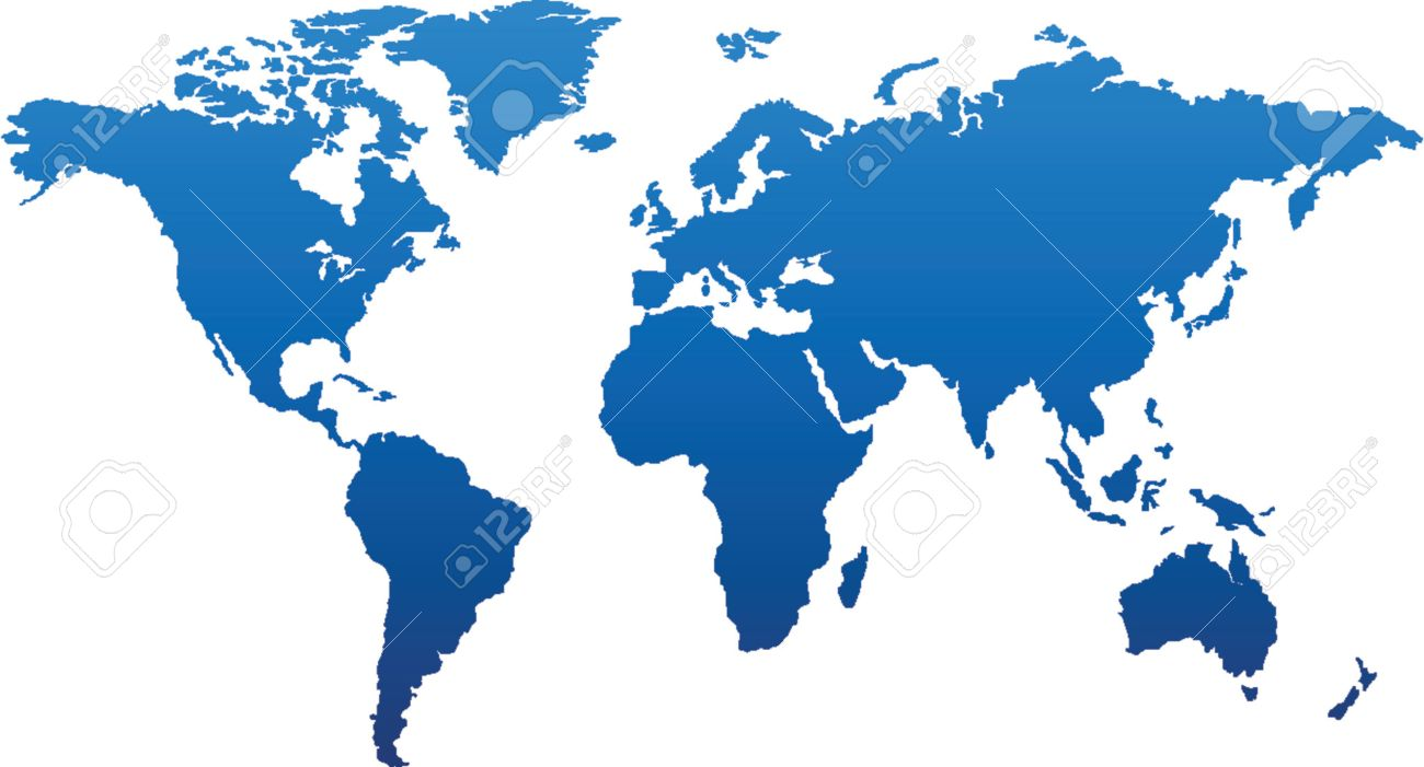Basic World Map In Blue Royalty Free Cliparts, Vectors, And Stock ...