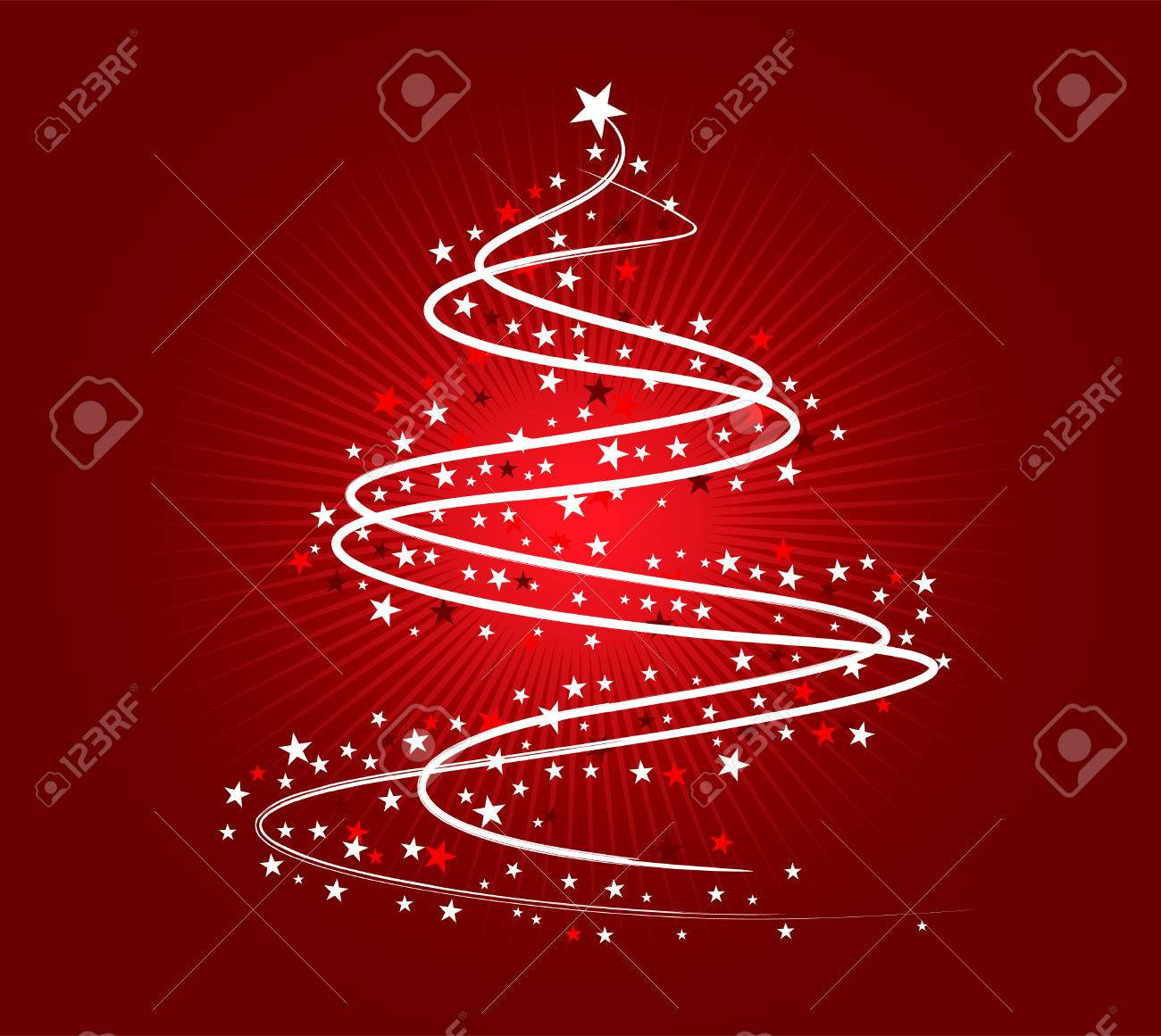 rbol de navidad ilustracin blanco sobre fondo rojo foto de archivo