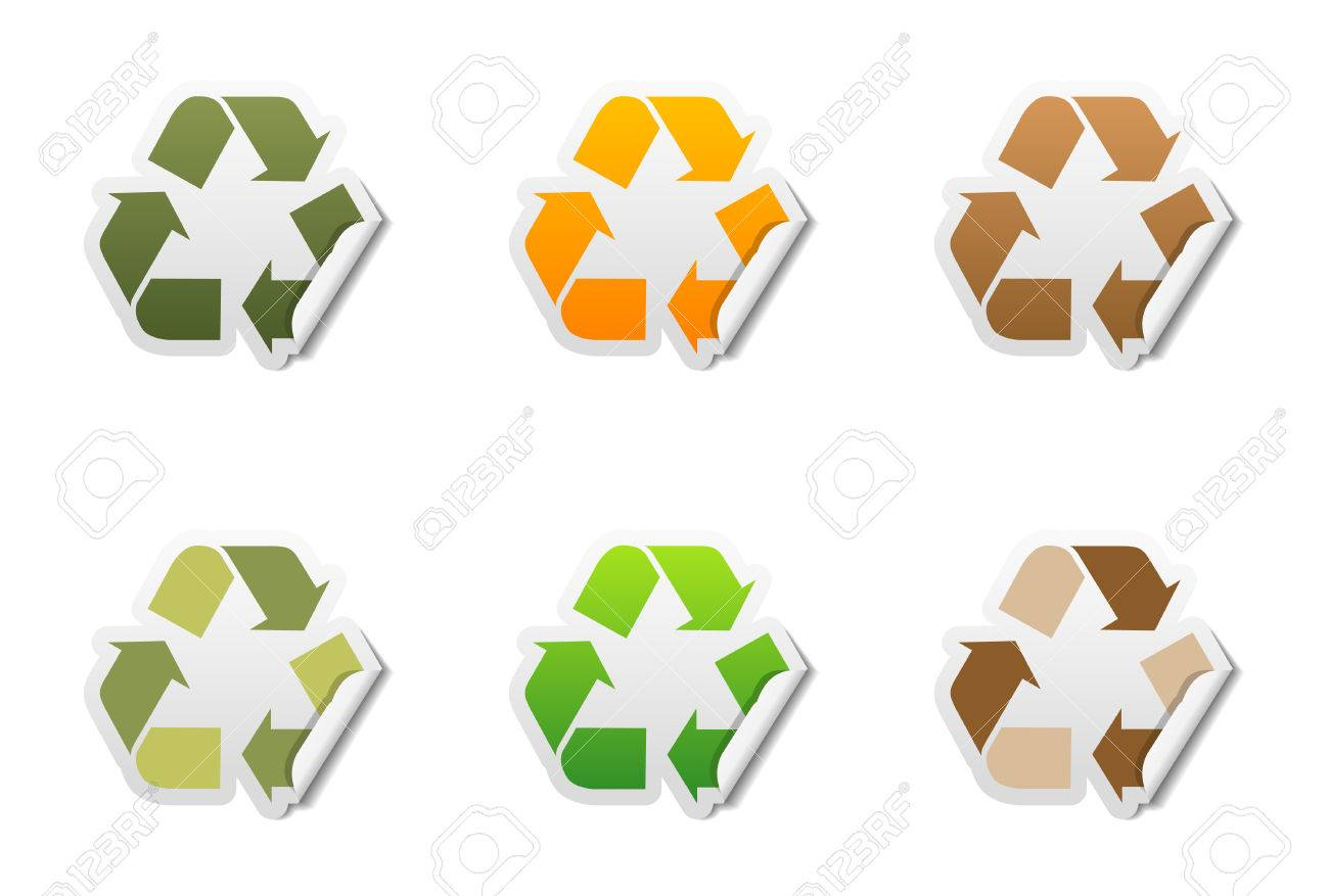 Set Of 6 Recycle Symbol Stickers With Peeled Edge Royalty Free