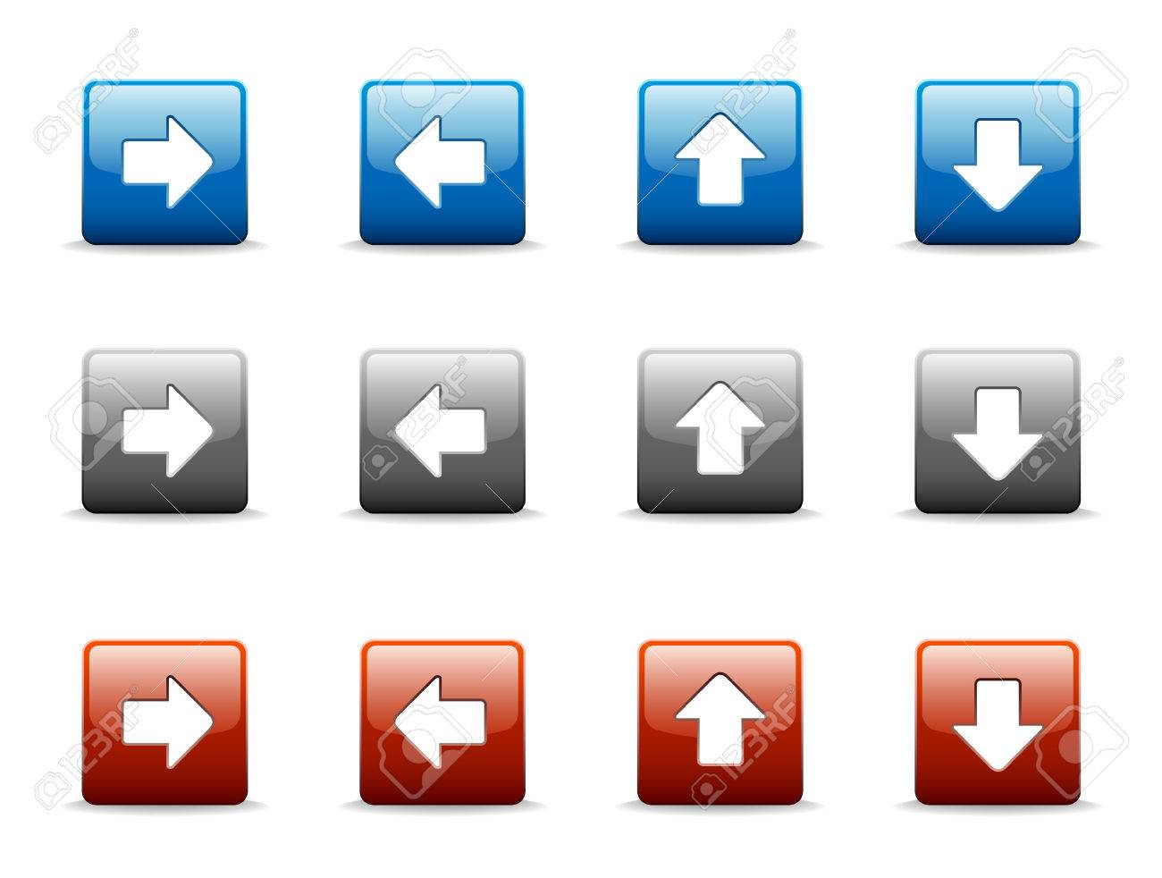 Set of four directional arrow icons in three colors Stock Vector - 2745882