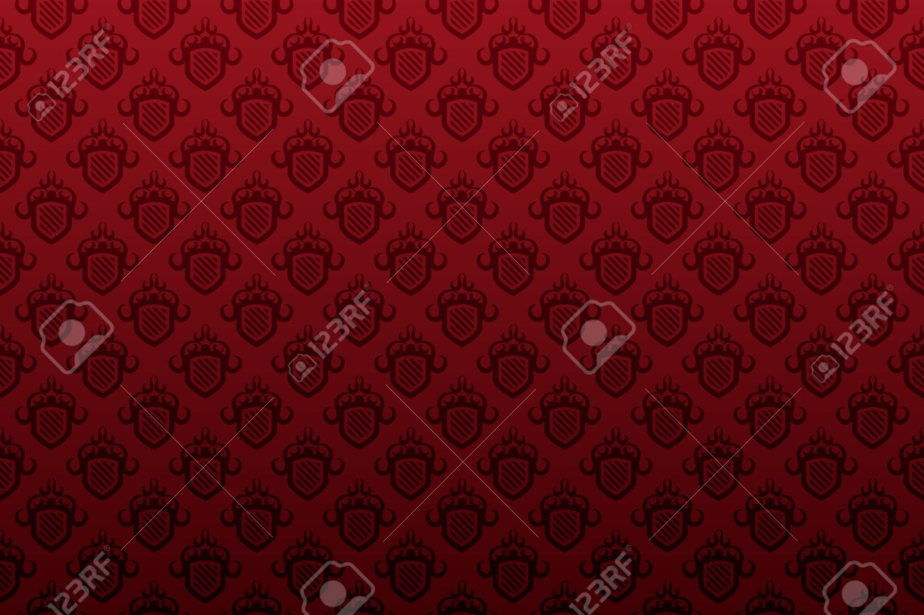 Red shield seamless wallpaper pattern background Stock Vector - 3311327