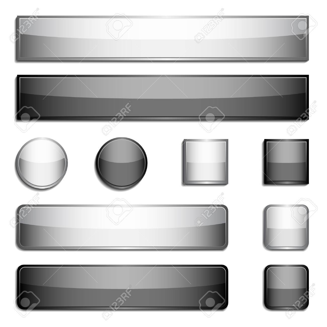 Set of black and gray glossy metal buttons Stock Vector - 3875492