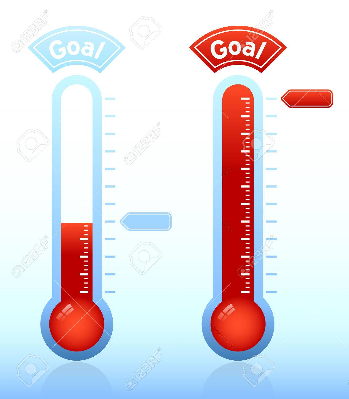 thermometer graphic showing progress towards goal stock vector 4089869