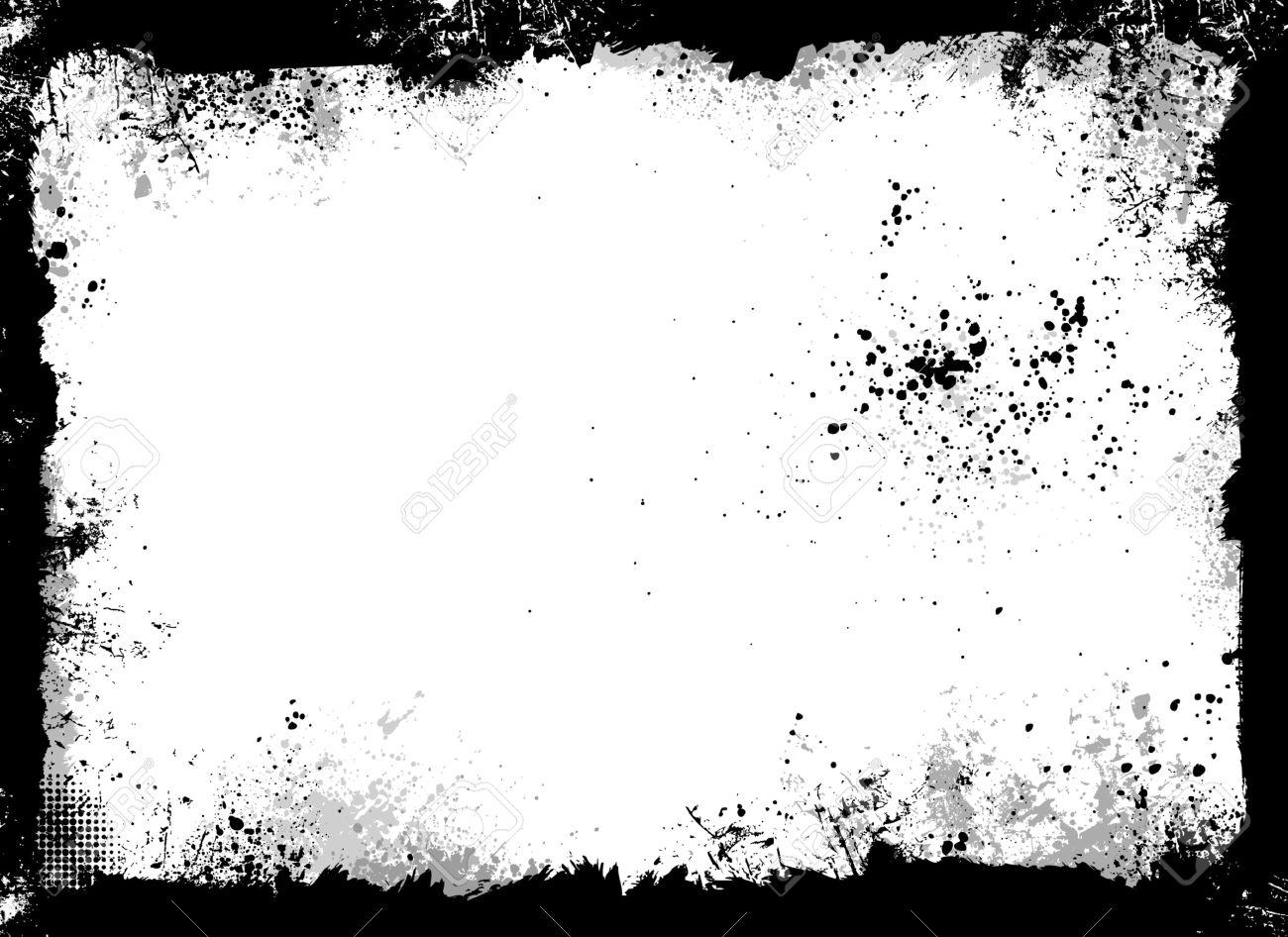 Black and gray grunge frame with paint splatter - 4366663
