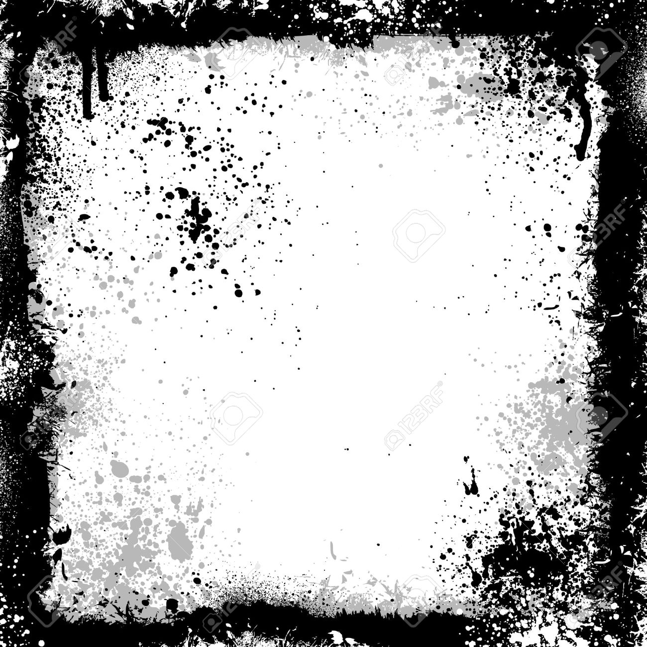 Black And Gray Grunge Frame With Paint Splatter Royalty Free ...