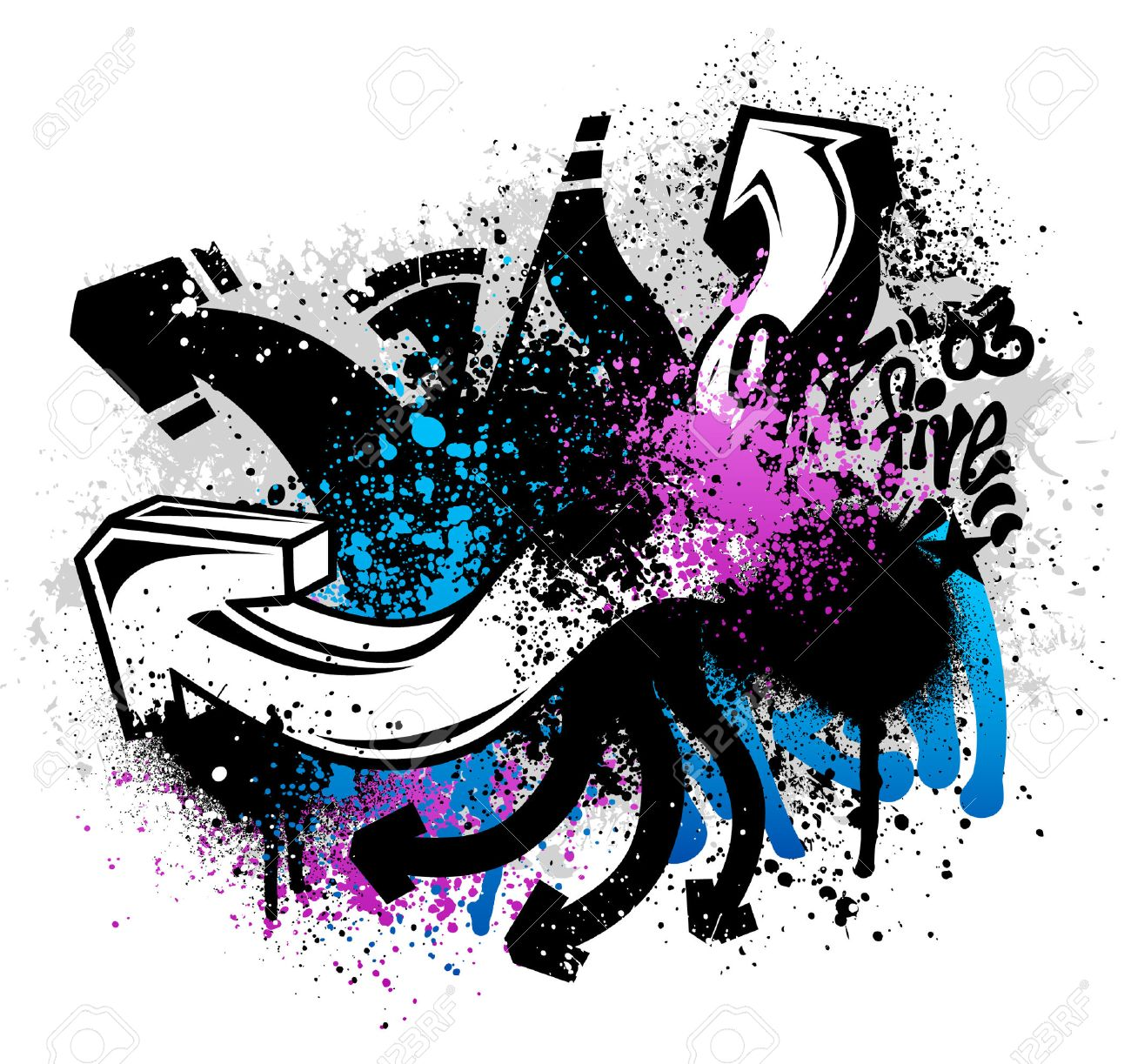 Black graffiti sketch with blue and pink grunge paint splatter Stock Vector - 4596915