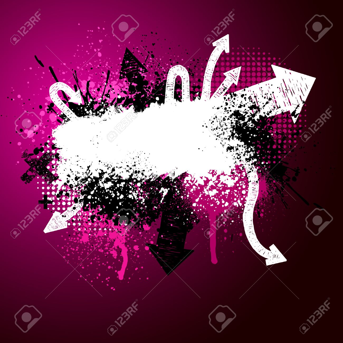 Pink, black and white grunge arrow paint splatter background Stock Vector - 4833831